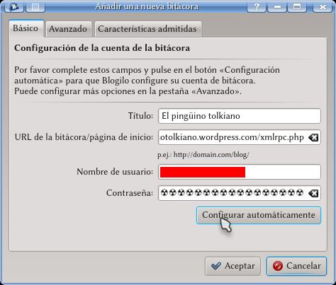 Configuración de Blogilo