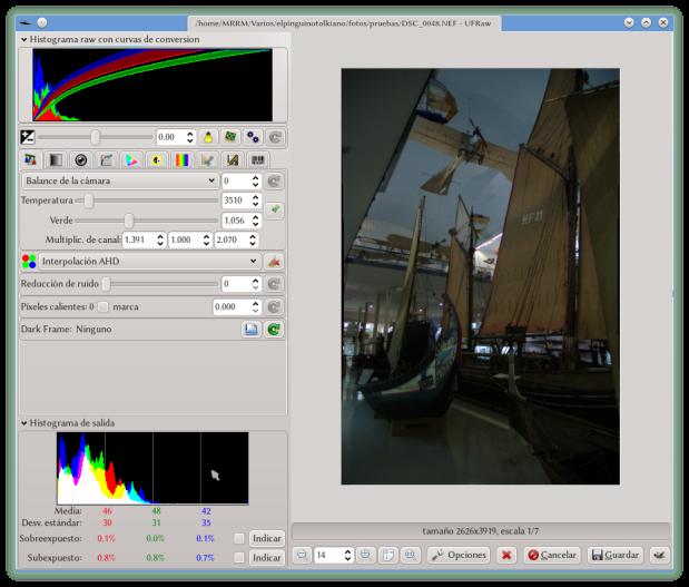 UFRaw procesando una fotografía